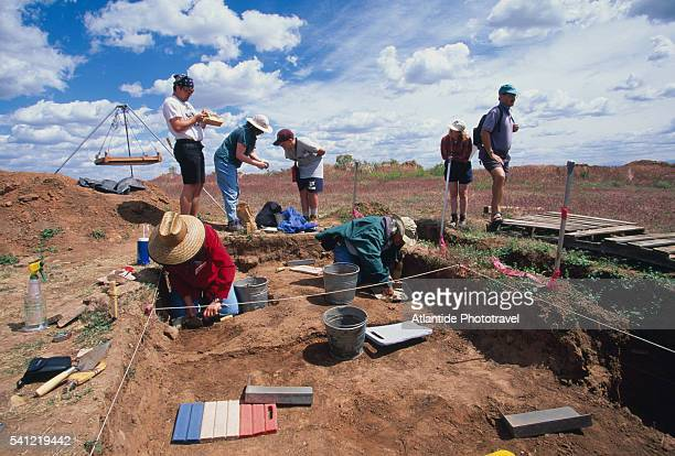 archeological excavations at shields pueblo in crow canyon - archaeology stock pictures, royalty-free photos & images