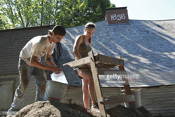 Archeologists dig at the Fairbanks House the oldest existing house in Massachusetts Sifting through the dirt is Nason Sinkula left and Brittany...