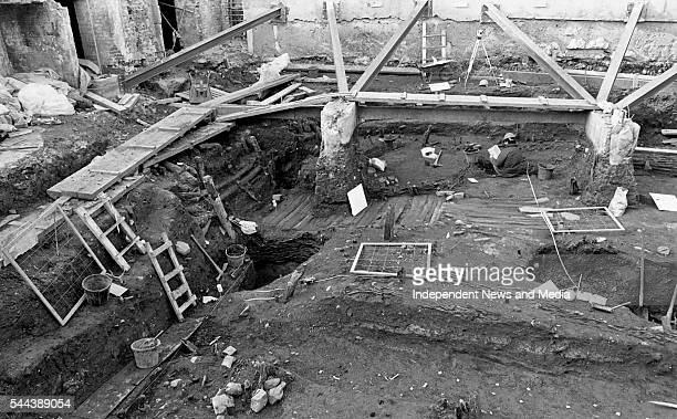 Archeologists dig at the site of the Viking house found at Castle Street , Dublin, Ireland, March 1993. Exterior walls, pathway, cesspit, fireplace,...
