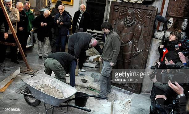 Archeologists dig to open the grave of famous Danish astronomer Tycho Brahe at the Church of Our Lady on the Old Town Square on November 15, 2010 in...