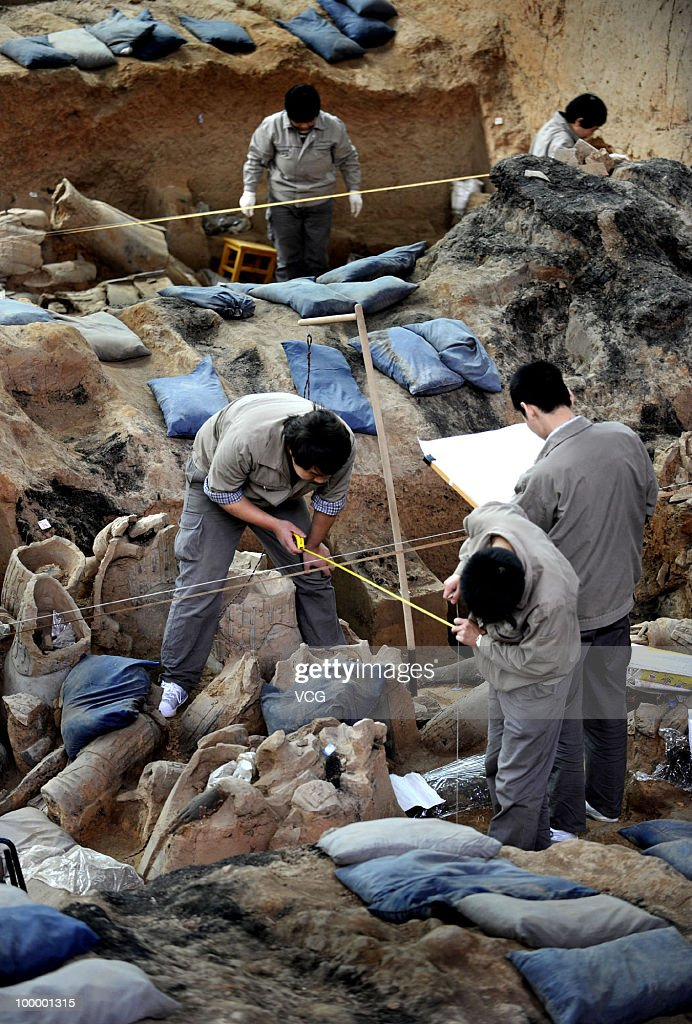 Archeologists examine terracotta figures newly excavated from the No. 1 Pit of the Museum of Qin Shihuang Terracotta Warriors and Horses are seen on May 18, 2010 in Xi'an, Shaanxi province of China. By Tuesday when the latest round of excavation and restoration after a year's work had completed, about 120 more terracotta warriors, most painted in pink, red and lilac, have been unearthed at the largest pit within the mausoleum complex of Qin Shihuang, China's first emperor of 259-210 BC.