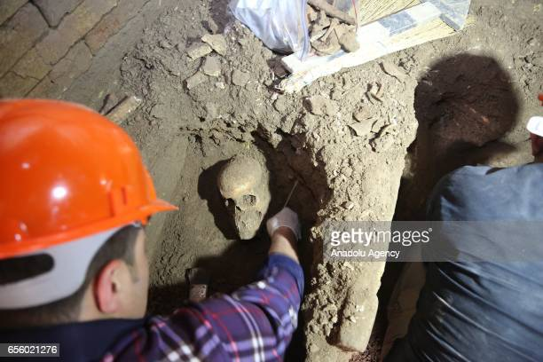 Archeologists from Iraqi Kurdish Regional Government's Erbil Archaeology Department unearth human bones and skulls found during an excavation work in...