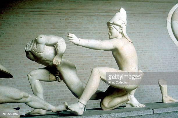 Archer and warrior from the West Pediment of the Temple of Aphaia Aegina Greece c500480 BC Reconstruction of part of the West Pediment of the Temple...