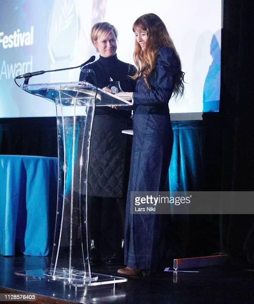 Archer Gray president of production Anne Carey and Writer and director Marielle Heller on stage during the 2019 Athena Film Festival awards ceremony...