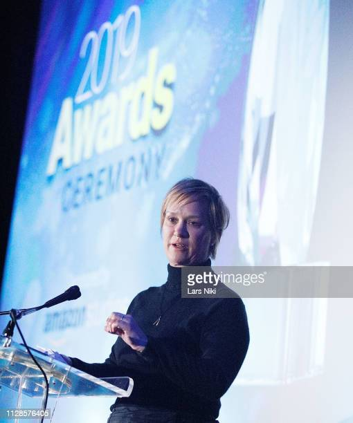 Archer Gray president of production Anne Carey on stage during the 2019 Athena Film Festival awards ceremony at the Diana Center at Barnard College...