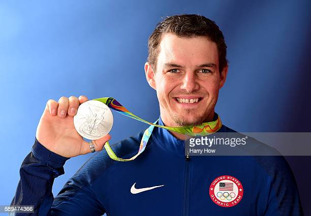 Archer Jake Kaminski of the United States poses for a photo with his silver medal on the Today show set on Copacabana Beach on August 13 2016 in Rio...