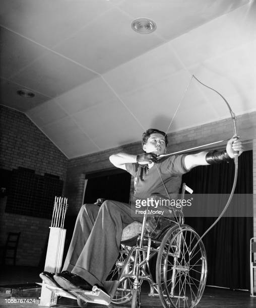 Archer Michael Hunter in training for the 7th International Stoke Mandeville Games at the National Spinal Injuries Centre at Stoke Mandeville...
