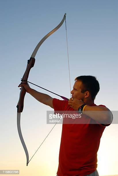 Archer Pointing his Bow and Arrow