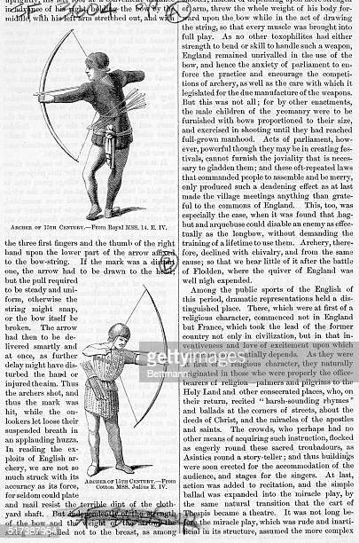 Archers of the 15th century Woodcuts from royal manuscripts