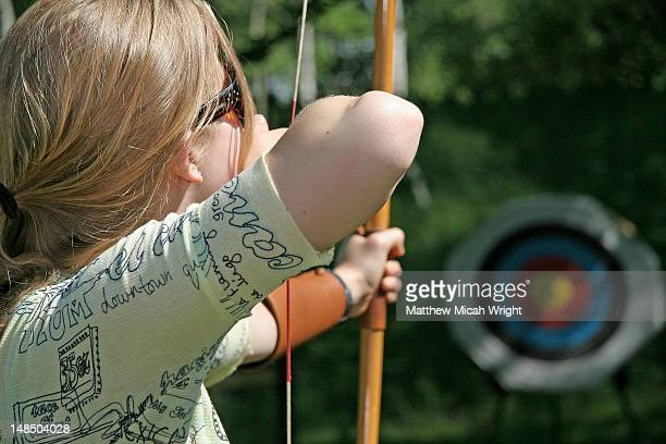 Archery practice in Sherwood Forest, famous for its Robin Hood legends.