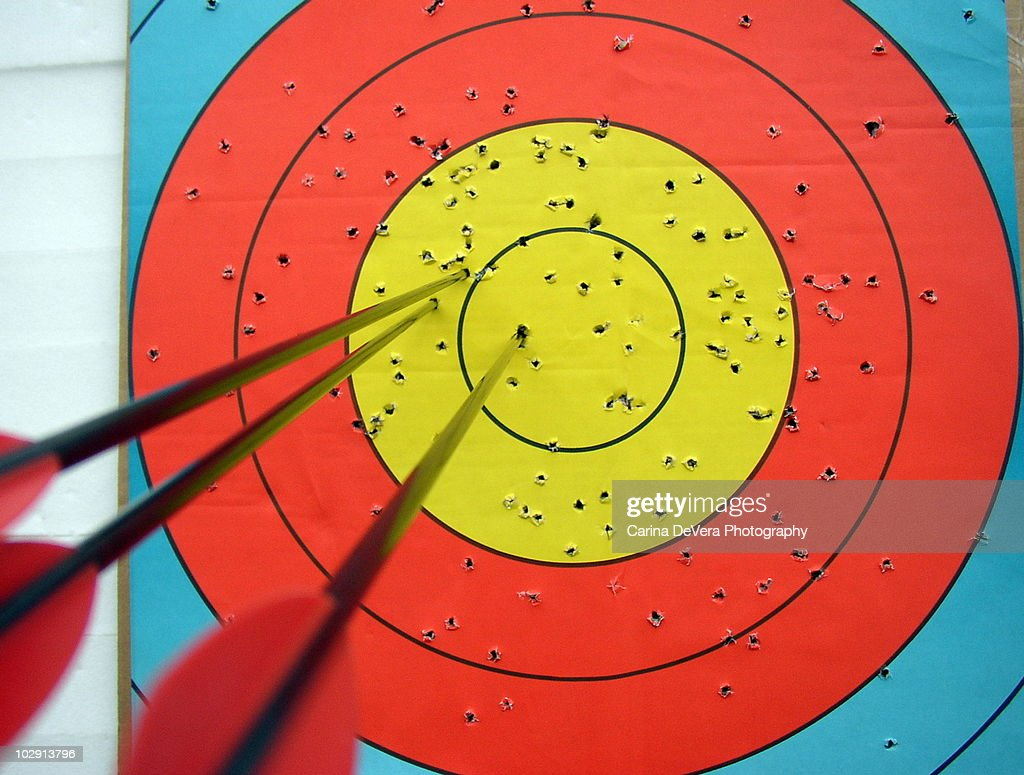 Archery Target and Arrows : Stock Photo