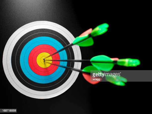archery target of success - possible stock pictures, royalty-free photos & images