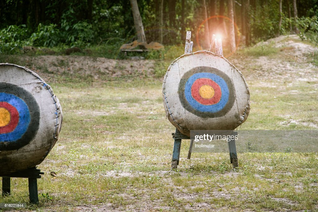 Archery target on the field,light and flare effect added : Bildbanksbilder
