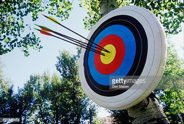 archery target with arrows in bull's eye - sports target stock pictures, royalty-free photos & images