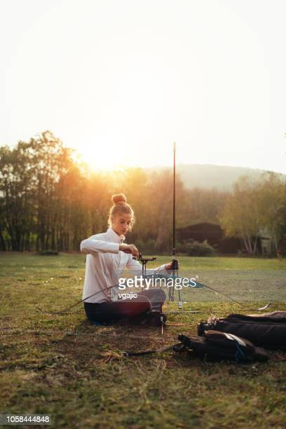 archery training - longbow stock photos and pictures