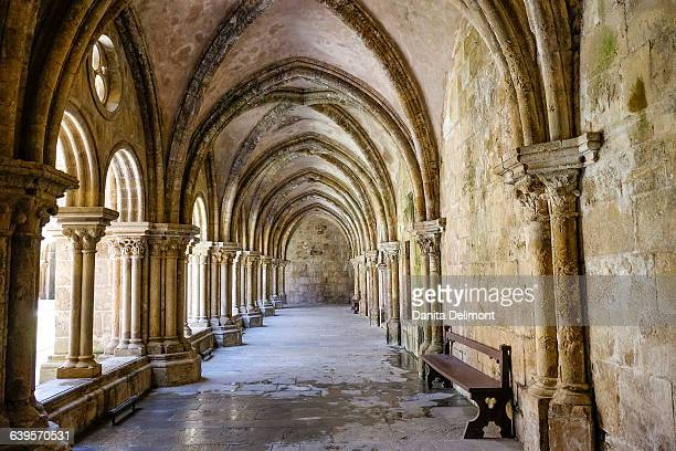 Arches and columns in Old Cathedral of Coimbra, Coimbra, Portugal