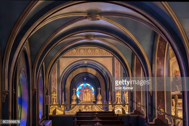 Arches and other architectural details inside Svet Stefan Bulgarian church at Istanbul Turkey