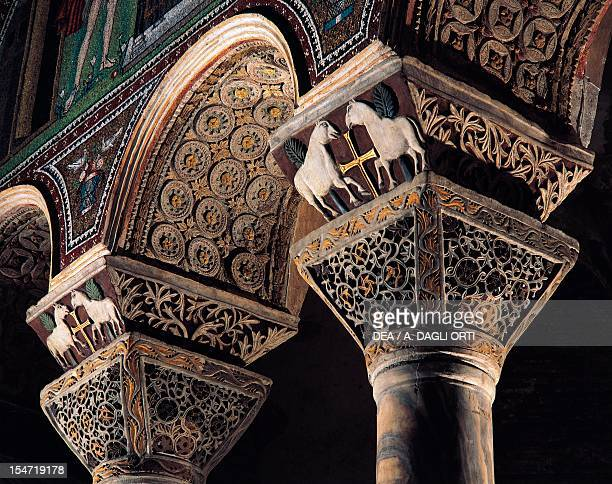 Arches capitals and dosserets decorated with stylized images stucco zoomorphic figures and the Cross Basilica of San Vitale Ravenna EmiliaRomagna...
