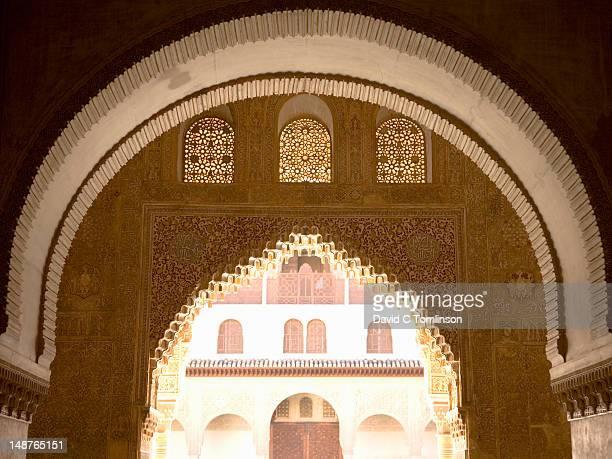 arches of salon de embajadores looking towards sala de la barca and patio de los arrayanes, casa real (also known as palacios nazaries), of the alhambra. - casa stock pictures, royalty-free photos & images