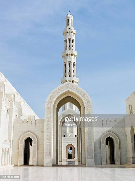 Arches of Sultan Qaboos Grand Mosque in Muscat Oman