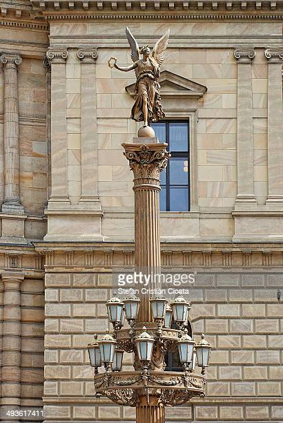 Archetectural details on The Rudolfinum, the home of the Czech Philharmonic Orchestra, in Prague