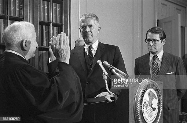 Archibald Cox is sworn in as Special Watergate Prosecutor by Judge Charles Fahy of the District of Columbia Circuit Court during a ceremony at the...