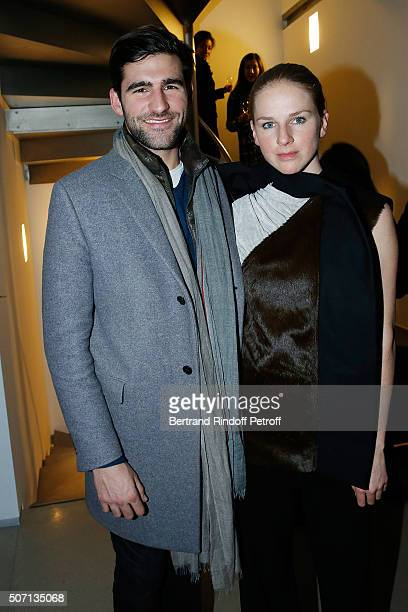 Archibald Pearson and Anna Philippa Wolf attend XYZ Exhibition Curated By Peter Marino at Thaddeus Ropac Gallery on January 27 2016 in Paris France