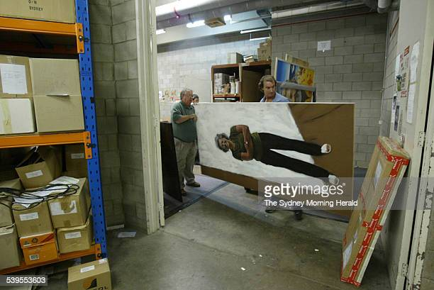 2005 Archibald Prize entry by artist Maurice Schlesinger a painting of Stella Downer in the packing room with staff at the Art Gallery of New South...