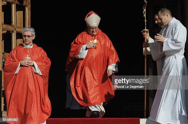 Archibishop Barsi arrives to celebrate a mass at the cathedral as part as the Sainte Devote ceremonies on January 27 2009 in Monaco