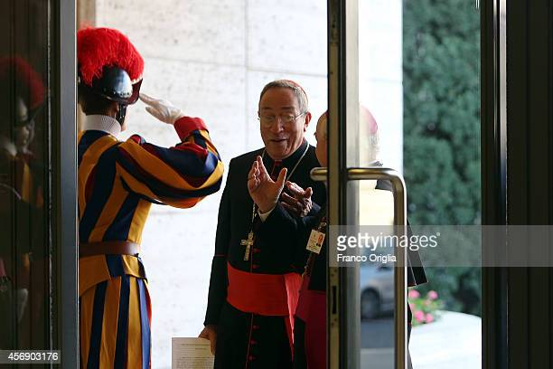 Archibishop of Tegucigalpa Cardinal Oscar Andres Rodriguez Maradiaga arrives at the Synod Hall for the fourth day of the Synod on the themes of...