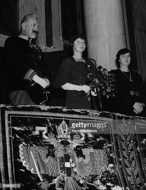 L'archiduc Eugene d'Autriche l'archiduchesse Adelaide d'Autriche et la Princesse Illeana de Roumanie a la fete d'anniversaire des 24 ans de...