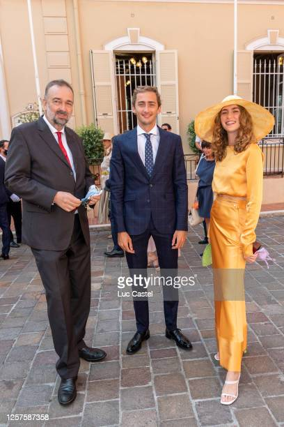Archiduc Karl of Habsburg, Ferdinand of Habsburg and Gloria of Habsburg attend the Civil Marriage of Eleonore of Habsburg and Jerome d'Ambrosio on...