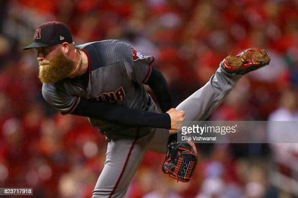 Archie Bradley of the Arizona Diamondback delivers a pitch against the St Louis Cardinals in the eighth inning at Busch Stadium on July 27 2017 in St...
