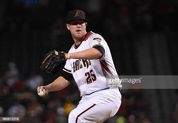 Archie Bradley of the Arizona Diamondbacks delivers a pitch against the Washington Nationals at Chase Field on August 1 2016 in Phoenix Arizona
