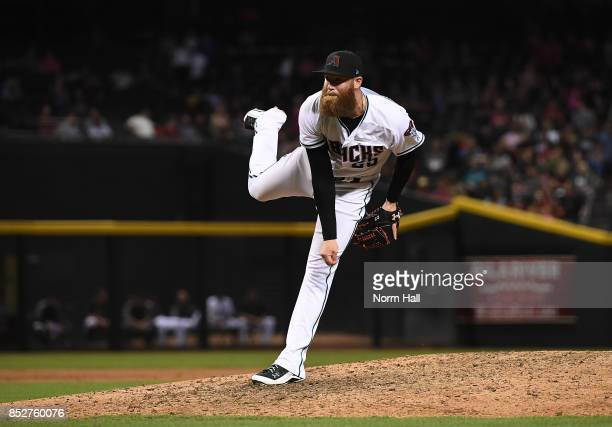 Archie Bradley of the Arizona Diamondbacks delivers a pitch against the Miami Marlins at Chase Field on September 22 2017 in Phoenix Arizona