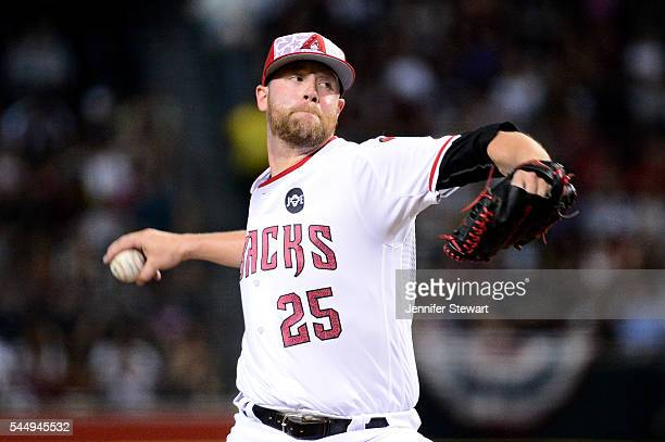 Archie Bradley of the Arizona Diamondbacks delivers a pitch during the first inning against the San Diego Padres at Chase Field on July 4 2016 in...