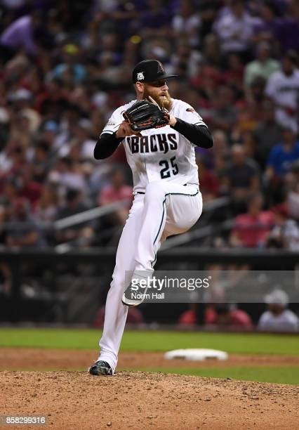 Archie Bradley of the Arizona Diamondbacks delivers a pitch during the National League Wild Card Game against the Colorado Rockies at Chase Field on...