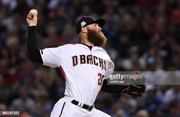 Archie Bradley of the Arizona Diamondbacks delivers a pitch in game three of the National League Divisional Series against the Los Angeles Dodgers at...
