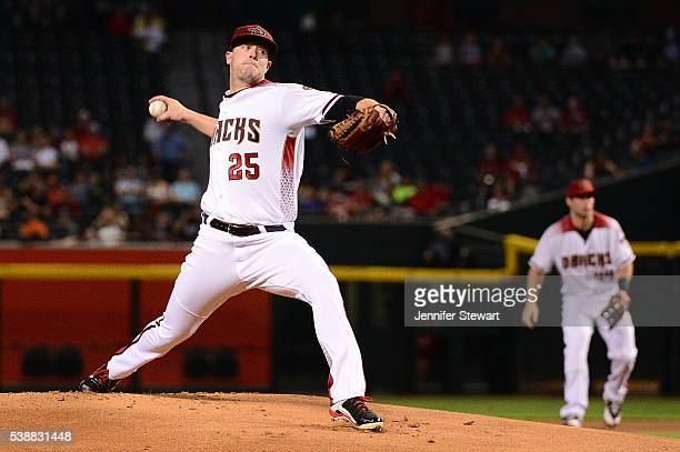 Archie Bradley of the Arizona Diamondbacks delivers a pitch in the first inning Tampa Bay Rays at Chase Field on June 8 2016 in Phoenix Arizona