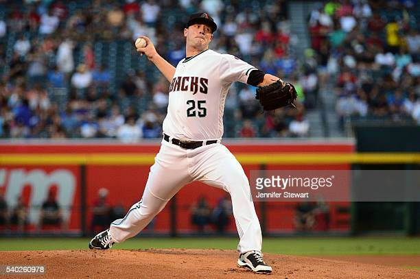 Archie Bradley of the Arizona Diamondbacks delivers a pitch in the first inning against the Los Angeles Dodgers at Chase Field on June 14 2016 in...