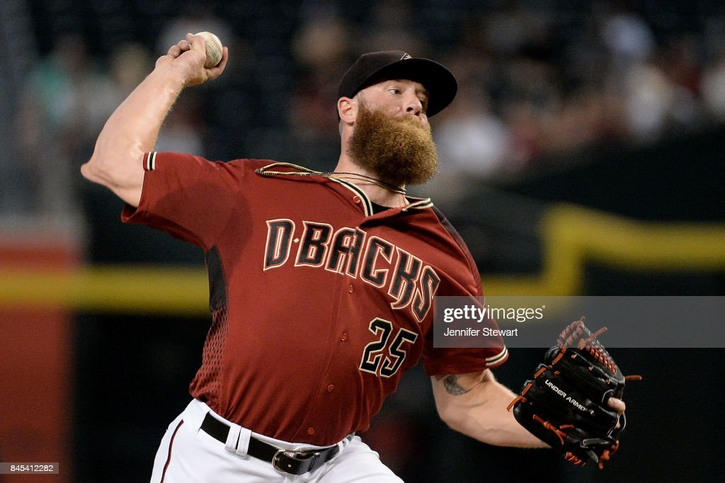 Archie Bradley #25 of the Arizona Diamondbacks delivers a pitch in the ninth inning against the San Diego Padres at Chase Field on September 10, 2017 in Phoenix, Arizona.