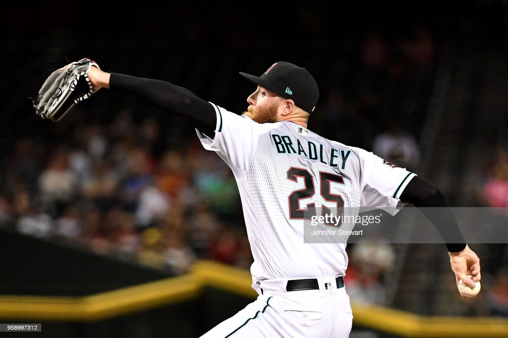 Archie Bradley #25 of the Arizona Diamondbacks delivers a pitch in the eighth inning of the MLB game against the Milwaukee Brewers at Chase Field on May 15, 2018 in Phoenix, Arizona. The Arizona Diamondbacks won 2-1.