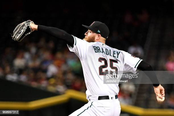 Archie Bradley of the Arizona Diamondbacks delivers a pitch in the eighth inning of the MLB game against the Milwaukee Brewers at Chase Field on May...