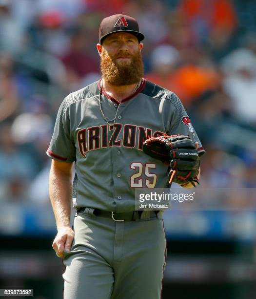 Archie Bradley of the Arizona Diamondbacks in action against the New York Mets at Citi Field on August 24 2017 in the Flushing neighborhood of the...
