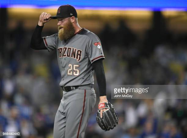 Archie Bradley of the Arizona Diamondbacks is releived after getting the final out in the 8th inning against Los Angeles Dodgers at Dodger Stadium on...