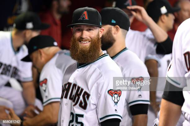 Archie Bradley of the Arizona Diamondbacks looks on prior to the National League Wild Card game against the Colorado Rockies at Chase Field on...
