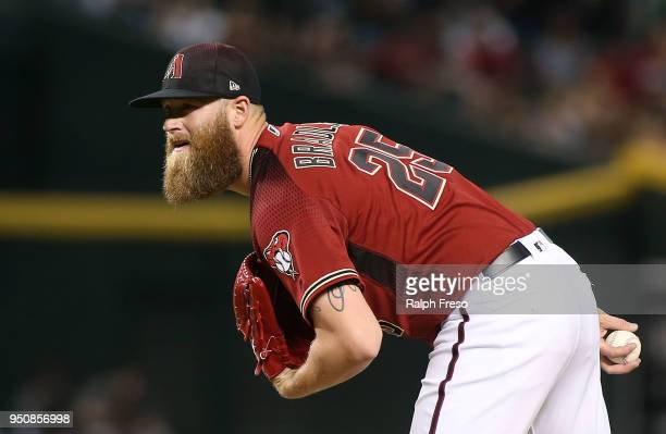 Archie Bradley of the Arizona Diamondbacks pitches against the San Diego Padres during the eighth inning of an MLB game at Chase Field on April 22...