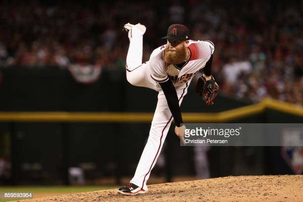 Archie Bradley of the Arizona Diamondbacks pitches during the eighth inning of the during the National League Divisional Series game three against...