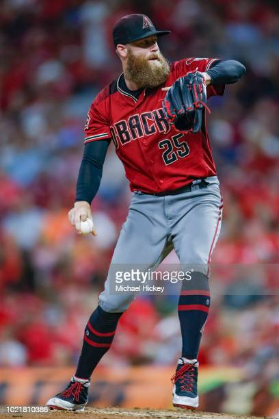 Archie Bradley of the Arizona Diamondbacks pitches during the game against the Cincinnati Reds at Great American Ball Park on August 11 2018 in...