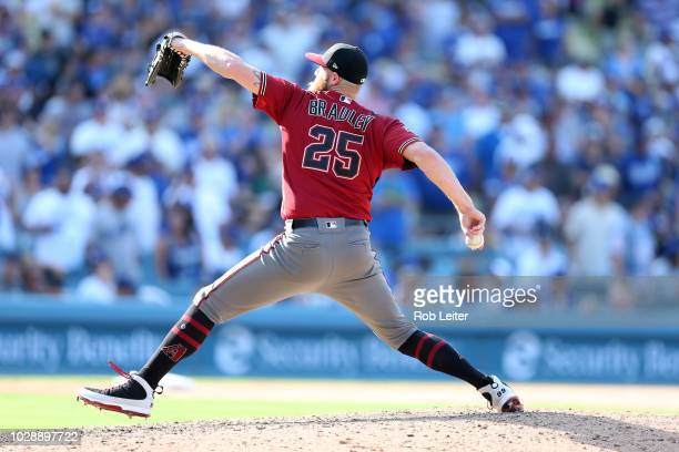 Archie Bradley of the Arizona Diamondbacks pitches during the game against the Los Angeles Dodgers at Dodger Stadium on Sunday September 2 2018 in...